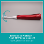 Emmi Dent Platinum - Aufsatz um 180° gedreht - ermöglicht Einhandbedienung - bei körperlichen Einschränkungen können Sie die Zahnbürste ablegen und die Zahncreme auflegen